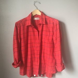 Vintage DVF red plaid button down